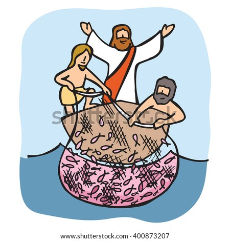 Jesus asks the disciples to cast the net over the right side of the boat and you will find something. And they found plenty of fish. Gospel of John, New Testament, Holy Bible.  - stock vector