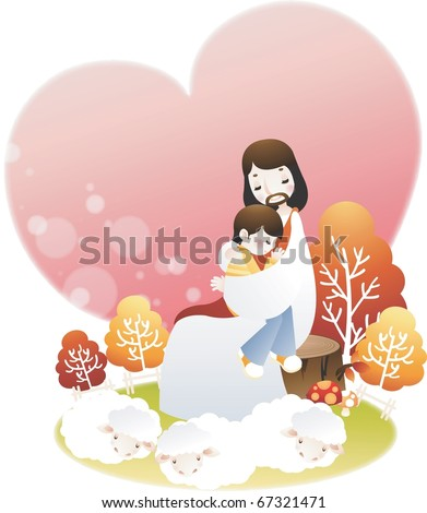 Jesus Christ and a Little Boy - stock vector