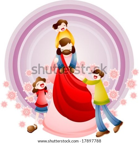 Jesus Christ and Christian - riding on the Lord's shoulders, playing with cute kids and enjoy happy and relaxing holiday on violet background with circle frame and floral pattern : vector illustration - stock vector