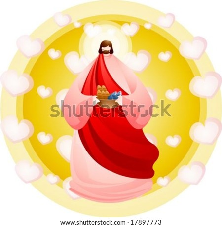 Jesus Christ and Christian - standing the Lord and holding a basket of Two Fish and Five Loaves of Barley Bread on yellow background with circle frame and white heart patterns : vector illustration - stock vector