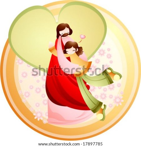 Jesus Christ and Christian - the Lord and lovely girl hug each other on a background with brown circle frame and pink floral pattern : vector illustration - stock vector