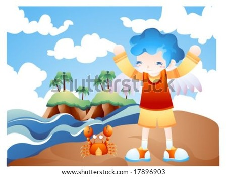 Jesus Christ and happy Christian - playing on the sandy beach with a lovely young boy : vector illustration - stock vector