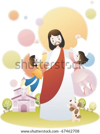 Jesus Christ and the Children - stock vector
