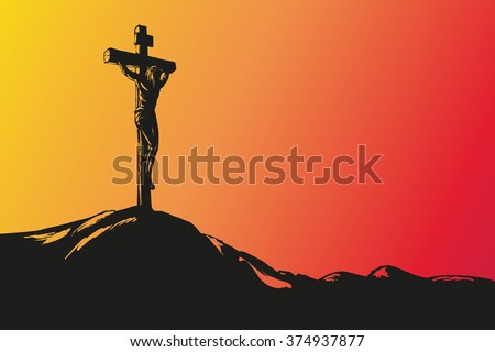 Jesus Christ Crucifiction hand drawn vector llustration sketch  - stock vector