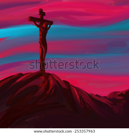 Jesus Christ Crucifiction vector illustration  hand drawn  painted  - stock vector
