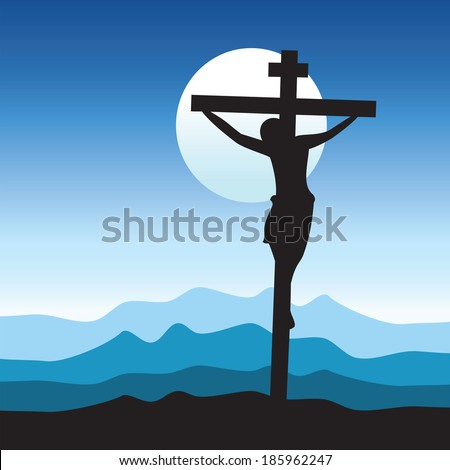 Jesus Christ Crucifixion in blue background. - stock vector