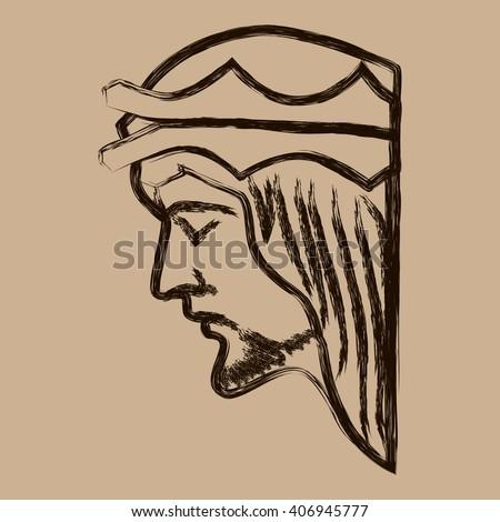 Jesus Christ. Jesus Christ Hand Drawn Vector Illustration. Face of Jesus. Sketch of jesus christ. Christianity. Portrait of Jesus Christ. Holy Jesus Christ. Jesus Christ vector picture illustration. - stock vector