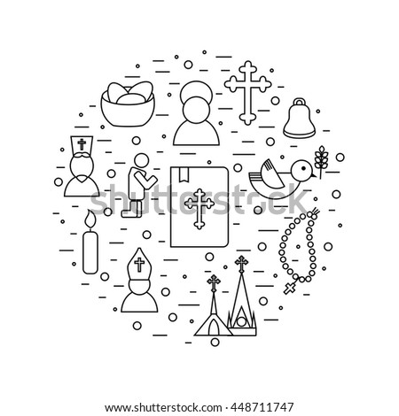Jesus Christ religion icons set. Christianity pictograms background in round shape - stock vector