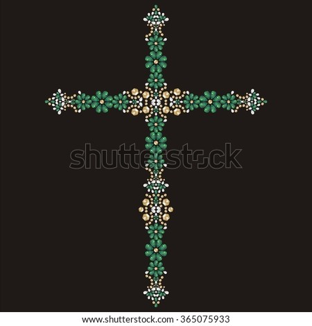 Jesus Christ. Vintage beautiful ornate Christian Cross from brilliant stones, emerald and gold. Rhinestone applique, decoration for clothing (abstract vector art illustration) - stock vector
