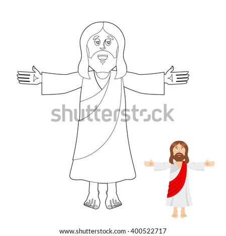 Jesus coloring book. Jesus christ drawing for children. Linear biblical people. Son of God of Christians and Catholics - stock vector