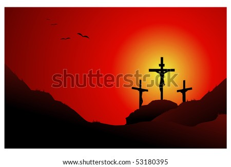Jesus cross easter background - stock vector