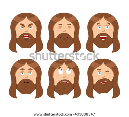 Jesus Emotions. Set expressions Picture of Jesus Christ. Son of God is good. Holy man was angry. Religious character discouraged and cheerful. Saviour in Christianity and Catholicism - stock vector