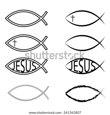 Jesus Fish Icons - stock vector