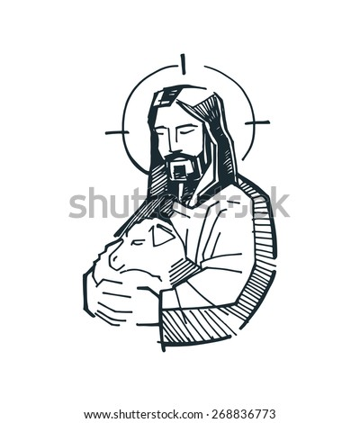 Jesus Good Shepherd Hand drawn vector illustration or drawing of Jesus Good Shepherd - stock vector