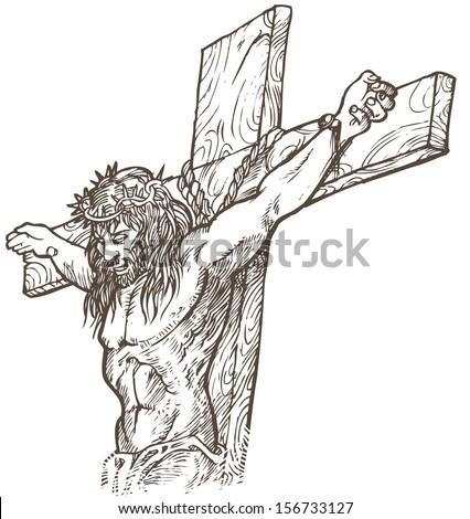 jesus hand draw  - stock vector