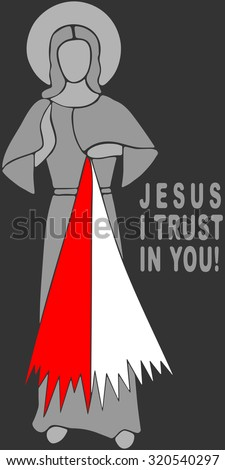 Jesus I trust in you. Image merciful heart of Jesus which shines two beams - red and white (blood and water). Picture of the Merciful Jesus. Christianity. - stock vector