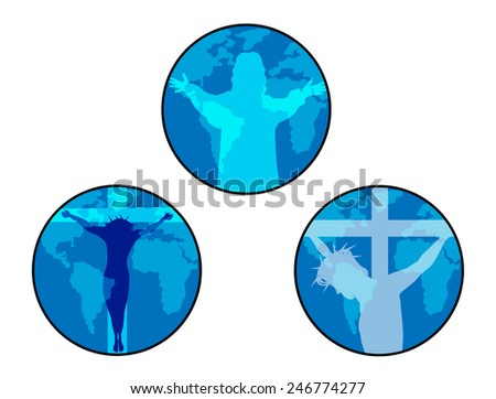 Jesus icon.Illustration of Jesus crucifixion and resurrection    - stock vector
