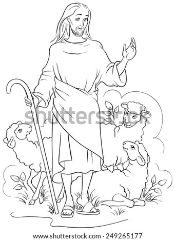 Jesus is a good shepherd. Colouring page. Also available colored version - stock vector