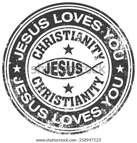 jesus loves you rubber stamp - stock vector