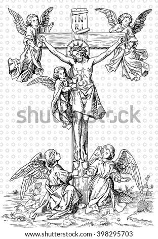 jesus on the cross - stock vector