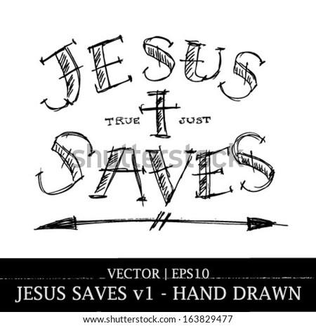 Jesus saves religious tattoo art design for Christian Bible church vector | EPS10 - stock vector