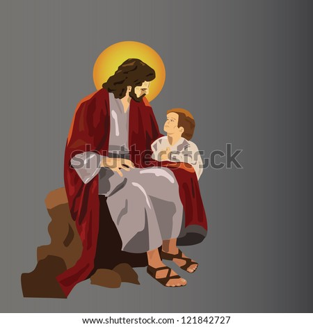 Jesus sitting with a child - stock vector