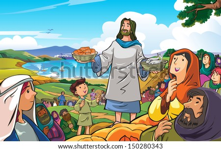 Jesus the merciful and compassionate who were distributing food to his people - stock vector