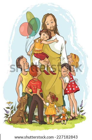 Jesus with children. Also available raster and outlined version - stock vector