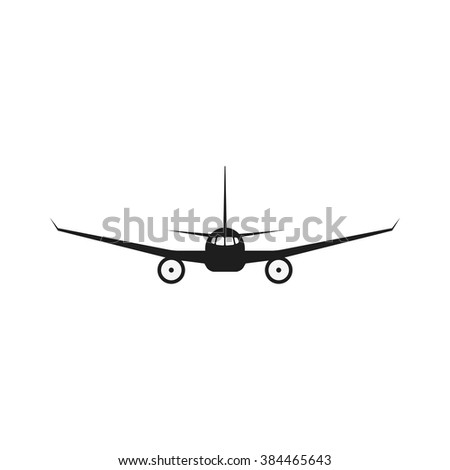 Jet airplane vector icon. Isolate airplane front view. Aircraft pictogram. - stock vector