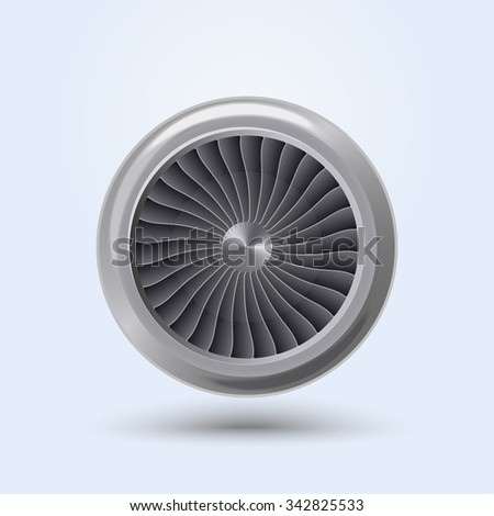 Jet Engine Realistic front view, aircraft turbine energy fan. Vector - stock vector