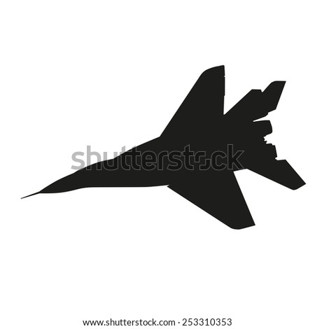 Jet fighter. Airplane vector silhouette - stock vector
