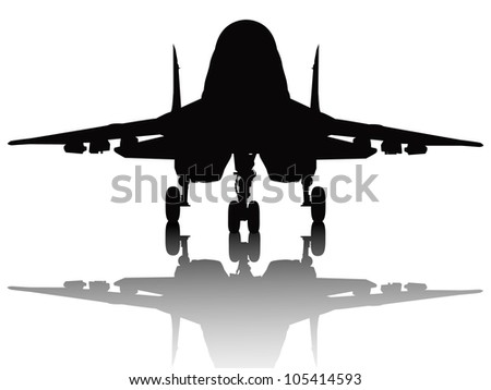 Jet fighter with reflection detailed vector silhouette. Separate layers. - stock vector
