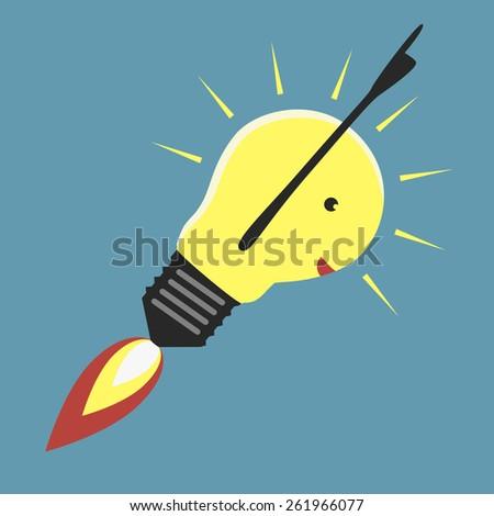 Jet-propelled lightbulb in moment of insight, EPS 8 vector illustration - stock vector
