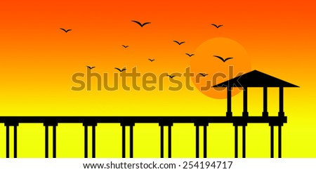 Jetty on sunset background - stock vector