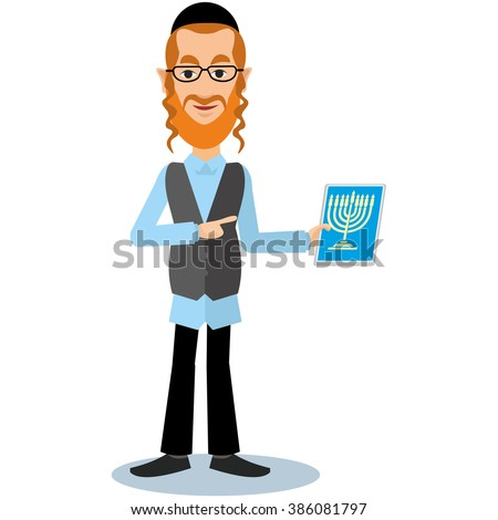 Jew with tablet - stock vector