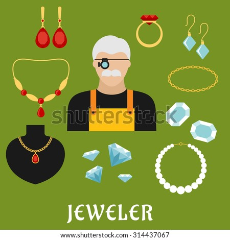 Jeweler profession concept with moustached man in magnifying glasses, surrounded by elegant gold ring, earrings, chains, pendant, bracelets and necklaces with diamonds, rubies and pearls. Flat style - stock vector