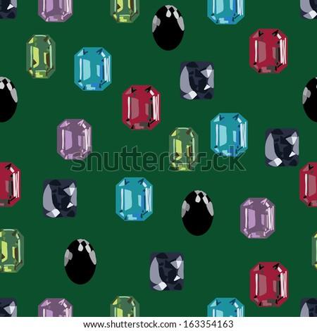jewellery gemstone seamless collection - stock vector