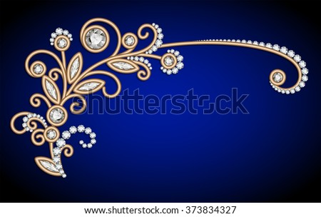 Jewelry background with diamond gold sprig, elegant jewellery floral decoration, vector greeting card or invitation template, eps10 - stock vector