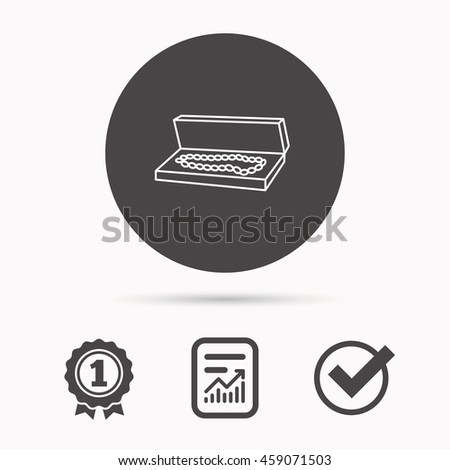 Jewelry box icon. Luxury precious sign. Report document, winner award and tick. Round circle button with icon. Vector - stock vector