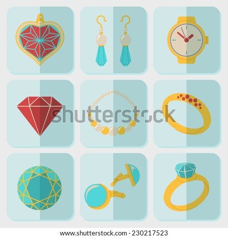 Jewelry colorful flat icons set with - rings, diamonds, watch, earrings, pendant, cuff links, necklace. Vector - stock vector