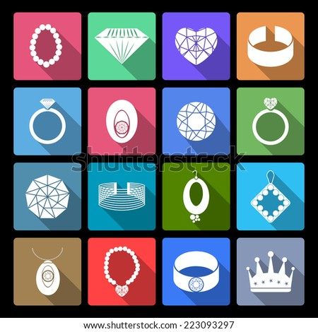 Jewelry icons flat set of precious fashion accessories isolated vector illustration - stock vector