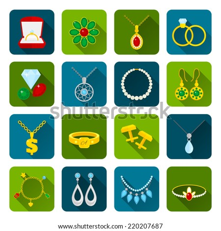 Jewelry icons set of expensive golden diamond treasures isolated vector illustration - stock vector