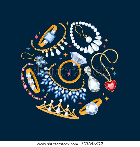 Jewelry items dark background. Center composition. Rings, earrings, pearl beads and gemstones. - stock vector
