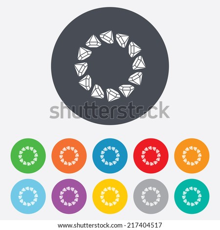 Jewelry sign icon. Diamonds circle symbol. Round colourful 11 buttons. Vector - stock vector