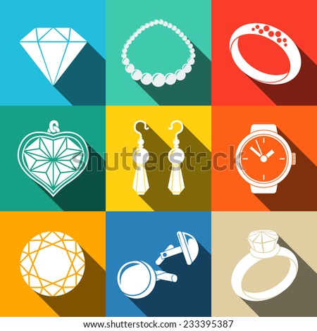 Jewelry white flat icons set with long shadow - rings, diamonds, watch, earrings, pendant, cuff links, necklace. Vector - stock vector