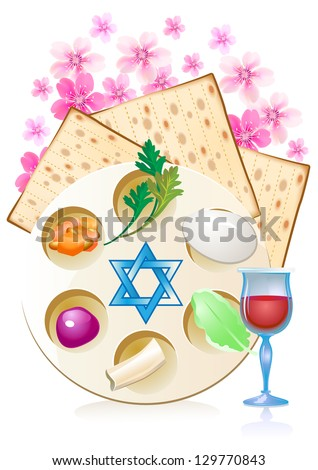 Jewish celebrate pesach passover with eggs, matzo,flowers and wine - stock vector