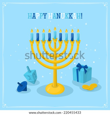 Jewish Holiday Hanukkah greeting card design. Vector illustration - stock vector