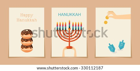 Jewish holiday hanukkah three cards .  ( Hebrew letters on a Hanukkah dreidel, which stand for the phrase, A great miracle happened here) - stock vector