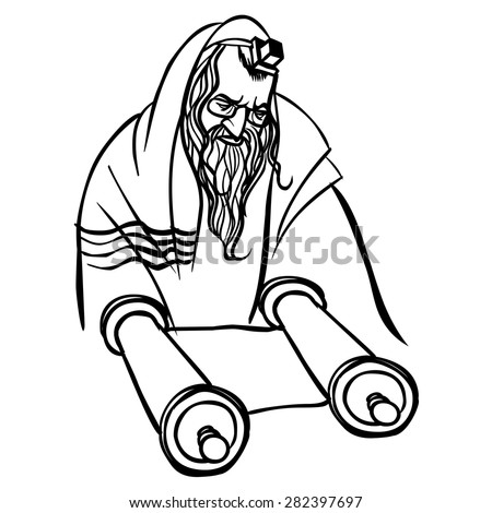 Jewish man reading Torah. vector illustration - stock vector