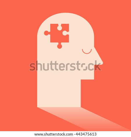 Jigsaw disappear in brain like Ideas and Imagination. Flat design for business financial marketing banking advertising commercial background minimal vector concept cartoon illustration. - stock vector